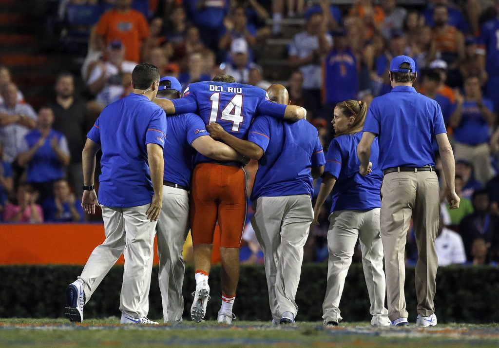 Sep 17, 2016; Gainesville, FL, USA; Florida Gators quarterback Luke Del Rio (14) gets helped off the field after an apparent injury during the second half against the North Texas Mean Green at Ben Hill Griffin Stadium. Florida Gators defeated the North Texas Mean Green 32-0. Mandatory Credit: Kim Klement-USA TODAY Sports