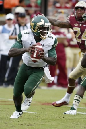 Sep 12, 2015; Tallahassee, FL, USA; South Florida Bulls quarterback Quinton Flowers (9) looks for a receiver against the Florida State Seminoles at Doak Campbell Stadium. Florida State won 34-14. Mandatory Credit: Glenn Beil-USA TODAY Sports