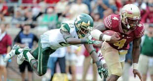 Sep 12, 2015; Tallahassee, FL, USA; Florida State Seminoles running back Dalvin Cook (4) runs the ball past University of South Florida Bulls cornerback Mazzi Wilkins (23) during the second half of the game at Doak Campbell Stadium. Mandatory Credit: Melina Vastola-USA TODAY Sports