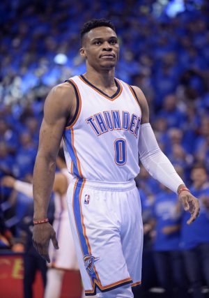 May 28, 2016; Oklahoma City, OK, USA; Oklahoma City Thunder guard Russell Westbrook (0) reacts before the game against the Golden State Warriors in game six of the Western conference finals of the NBA Playoffs at Chesapeake Energy Arena. Mandatory Credit: Mark D. Smith-USA TODAY Sports