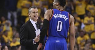 May 30, 2016; Oakland, CA, USA; Oklahoma City Thunder head coach Billy Donovan (left) instructs guard Russell Westbrook (0) against the Golden State Warriors during the second quarter in game seven of the Western conference finals of the NBA Playoffs at Oracle Arena. Mandatory Credit: Kyle Terada-USA TODAY Sports