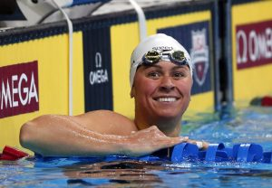 July 1, 2016; Omaha, NE, USA; Elizabeth Beisel reacts after competing in the women's 200m backstroke preliminary heats in the U.S. Olympic swimming team trials at CenturyLink Center. Mandatory Credit: Erich Schlegel-USA TODAY Sports