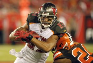 Aug 26, 2016; Tampa, FL, USA; Tampa Bay Buccaneers wide receiver Vincent Jackson (83) runs the ball against Cleveland Browns defensive back Ibraheim Campbell (24) during the first quarter of a football game at Raymond James Stadium. Mandatory Credit: Reinhold Matay-USA TODAY Sports