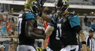 Aug 28, 2016; Jacksonville, FL, USA; Jacksonville Jaguars tight end Neal Sterling (87) and Jacksonville Jaguars quarterback Chad Henne (7) celebrate after a touchdown in the fourth quarter against the Cincinnati Bengals at EverBank Field. The Cincinnati Bengals 26-21. Mandatory Credit: Logan Bowles-USA TODAY Sports