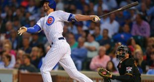 Aug 8, 2015; Chicago, IL, USA; Chicago Cubs third baseman Kris Bryant (17) hits a home run during the first inning against the Pittsburgh Pirates at Wrigley Field. Mandatory Credit: Dennis Wierzbicki-USA TODAY Sports