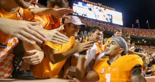 Sep 1, 2016; Knoxville, TN, USA; Tennessee Volunteers running back Jalen Hurd (1) interacts with fans after the overtime win against the Appalachian State Mountaineers at Neyland Stadium. Tennessee won 20-13. Mandatory Credit: Randy Sartin-USA TODAY Sports