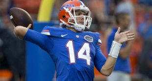 Sep 3, 2016; Gainesville, FL, USA;  Florida Gators quarterback Luke Del Rio (14) throws a warmup pass before a football game against the Massachusetts Minutemen at Ben Hill Griffin Stadium. Mandatory Credit: Reinhold Matay-USA TODAY Sports