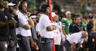 Sep 3, 2016; Denton, TX, USA; North Texas Mean Green head coach Seth Littrell looks onto the field during the fourth quarter against Southern Methodist Mustangs at Apogee Stadium. Mandatory Credit: Sean Pokorny-USA TODAY Sports