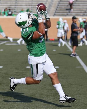 Sep 3, 2016; Denton, TX, USA; North Texas Mean Green wide receiver Connor Davis (37) catches the ball before a game against the Southern Methodist Mustangs at Apogee Stadium. Mandatory Credit: Sean Pokorny-USA TODAY Sports