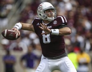 Texas A&M Aggies quarterback Trevor Knight (8) attempts a pass during the second quarter against the Prairie View A&M Panthers at Kyle Field. Mandatory Credit: Troy Taormina-USA TODAY Sports