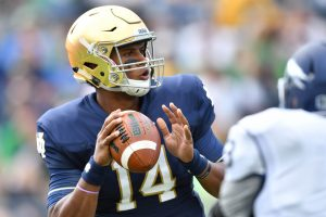 Sep 10, 2016; South Bend, IN, USA; Notre Dame Fighting Irish quarterback DeShone Kizer (14) looks to throw in the first quarter against the Nevada Wolf Pack at Notre Dame Stadium. Mandatory Credit: Matt Cashore-USA TODAY Sports