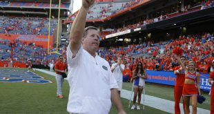 Sep 10, 2016; Gainesville, FL, USA; Florida Gators head coach Jim McElwain celebrates after they beat the Kentucky Wildcats at Ben Hill Griffin Stadium. Florida Gators defeated the Kentucky Wildcats 45-7. Mandatory Credit: Kim Klement-USA TODAY Sports