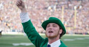 Sep 10, 2016; South Bend, IN, USA; The Notre Dame leprechaun cheers in the third quarter of the game against the Nevada Wolf Pack at Notre Dame Stadium. Notre Dame won 39-10. Mandatory Credit: Matt Cashore-USA TODAY Sports