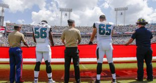 Sep 11, 2016; Jacksonville, FL, USA; Jacksonville Jaguars defensive end Dante Fowler (56) and center Brandon Linder (65) hold the American flag during the national anthem with military members  bwterfor the game against the Green Bay Packers at EverBank Field. Mandatory Credit: Kim Klement-USA TODAY Sports