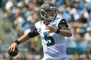 Sep 11, 2016; Jacksonville, FL, USA; Jacksonville Jaguars quarterback Blake Bortles (5) drops to throw a pass during the first half of a football game against the Green Bay Packers at EverBank Field. Mandatory Credit: Reinhold Matay-USA TODAY Sports