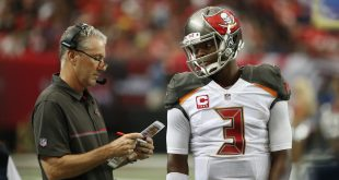 Sep 11, 2016; Atlanta, GA, USA; Tampa Bay Buccaneers head coach Dirk Koetter talks with quarterback Jameis Winston (3) in the fourth quarter of their game against the Atlanta Falcons at the Georgia Dome. The Buccaneers won 31-24. Mandatory Credit: Jason Getz-USA TODAY Sports