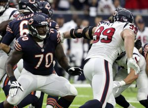 Sep 11, 2016; Houston, TX, USA; Houston Texans defensive end J.J. Watt (99) rushes against Chicago Bears tackle Bobby Massie (70) during the game at NRG Stadium. Mandatory Credit: Kevin Jairaj-USA TODAY Sports