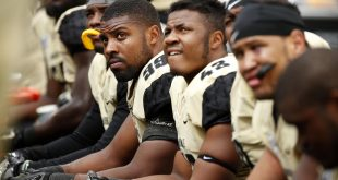 Sep 17, 2016; Atlanta, GA, USA; Vanderbilt Commodores linebacker Landon Stokes (99) and teammates watch from the sideline during the fourth quarter of their game against the Georgia Tech Yellow Jackets at Bobby Dodd Stadium. The Yellow Jackets won 38-7. Mandatory Credit: Jason Getz-USA TODAY Sports