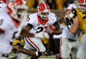 Sep 17, 2016; Columbia, MO, USA; Georgia Bulldogs running back Nick Chubb (27) carries the ball against the Missouri Tigers in the first half at Faurot Field. Mandatory Credit: John Rieger-USA TODAY Sports