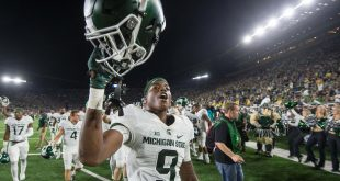 Sep 17, 2016; South Bend, IN, USA; Michigan State Spartans wide receiver Donnie Corley (9) celebrates after MSU defeated the Notre Dame Fighting Irish 36-28 at Notre Dame Stadium. Mandatory Credit: Matt Cashore-USA TODAY Sports