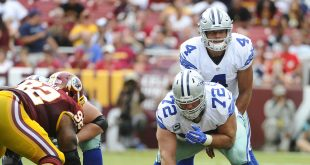 Sep 18, 2016; Landover, MD, USA; Dallas Cowboys quarterback Dak Prescott (4) at the line of scrimmage against the Washington Redskins during the second half  at FedEx Field. The Dallas Cowboys won 27 - 23. Mandatory Credit: Brad Mills-USA TODAY Sports
