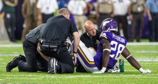 Sep 18, 2016; Minneapolis, MN, USA; Minnesota Vikings running back Adrian Peterson (28) is injured during the third quarter against the Green Bay Packers at U.S. Bank Stadium. The Vikings defeated the Packers 17-14. Mandatory Credit: Brace Hemmelgarn-USA TODAY Sports