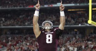 Sep 24, 2016; Dallas, TX, USA; Texas A&M Aggies quarterback Trevor Knight (8) celebrates scoring a touchdown in the second quarter against the Arkansas Razorbacks at AT&T Stadium. Mandatory Credit: Tim Heitman-USA TODAY Sports