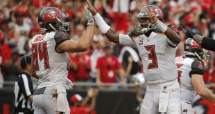 Sep 25, 2016; Tampa, FL, USA; Tampa Bay Buccaneers tight end Cameron Brate (84) is congratulated by quarterback Jameis Winston (3) after he scored a touchdown against the Los Angeles Rams during the second half at Raymond James Stadium. Mandatory Credit: Kim Klement-USA TODAY Sports