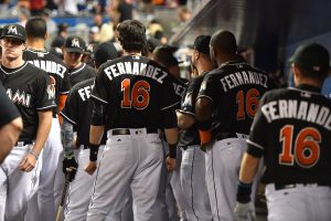 Sep 26, 2016; Miami, FL, USA; Miami Marlins teammates all wear the name and number of fallen teammate starting pitcher Jose Fernandez during the game against the New York Mets at Marlins Park. Mandatory Credit: Jasen Vinlove-USA TODAY Sports