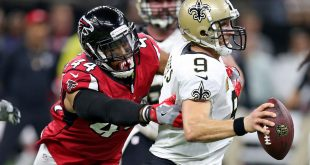 Sep 26, 2016; New Orleans, LA, USA; New Orleans Saints quarterback Drew Brees (9) tries to avoid a sack in the fourth quarter by Atlanta Falcons outside linebacker Vic Beasley (44) at the Mercedes-Benz Superdome. The Falcons won 45-32. Mandatory Credit: Chuck Cook-USA TODAY Sports