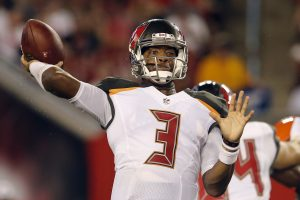 Aug 26, 2016; Tampa, FL, USA; Tampa Bay Buccaneers quarterback Jameis Winston (3) throws a pass during the second quarter of a football game against the Cleveland Browns at Raymond James Stadium. Mandatory Credit: Reinhold Matay-USA TODAY Sports
