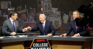 Oct 10, 2015; Salt Lake City, UT, USA; ESPN College Game Day hosts (L-R) Rece Davis and Lee Corso and Kirk Herbstreit during the broadcast at Presidents Circle on the University of Utah campus prior to the game between the California Golden Bears and the Utah Utes. Mandatory Credit: Russ Isabella-USA TODAY Sports