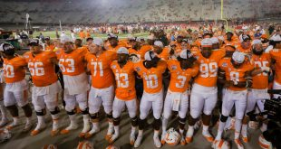 Sep 10, 2016; Bristol, TN, USA; The Tennessee Volunteers celebrate after the game against the Virginia Tech Hokies at Bristol Motor Speedway. Tennessee won 45 to 24. Mandatory Credit: Randy Sartin-USA TODAY Sports