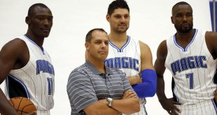 Sep 26, 2016; Orlando, FL, USA; Orlando Magic head coach Frank Vogel, center Bismack Biyombo (11),  center Nikola Vucevic (9) and forward Serge Ibaka (7)  pose for a photo during media day at Amway Center. Mandatory Credit: Kim Klement-USA TODAY Sports