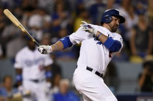 Oct 20, 2016; Los Angeles, CA, USA; Los Angeles Dodgers first baseman Adrian Gonzalez (23) hits a RBI ground out in the fourth inning against the Chicago Cubs in game five of the 2016 NLCS playoff baseball series against the Los Angeles Dodgers at Dodger Stadium. Mandatory Credit: Kelvin Kuo-USA TODAY Sports