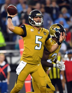 Oct 27, 2016; Nashville, TN, USA; Jacksonville Jaguars quarterback Blake Bortles (5) attempts a pass in the first half against the Tennessee Titans at Nissan Stadium. Mandatory Credit: Christopher Hanewinckel-USA TODAY Sports