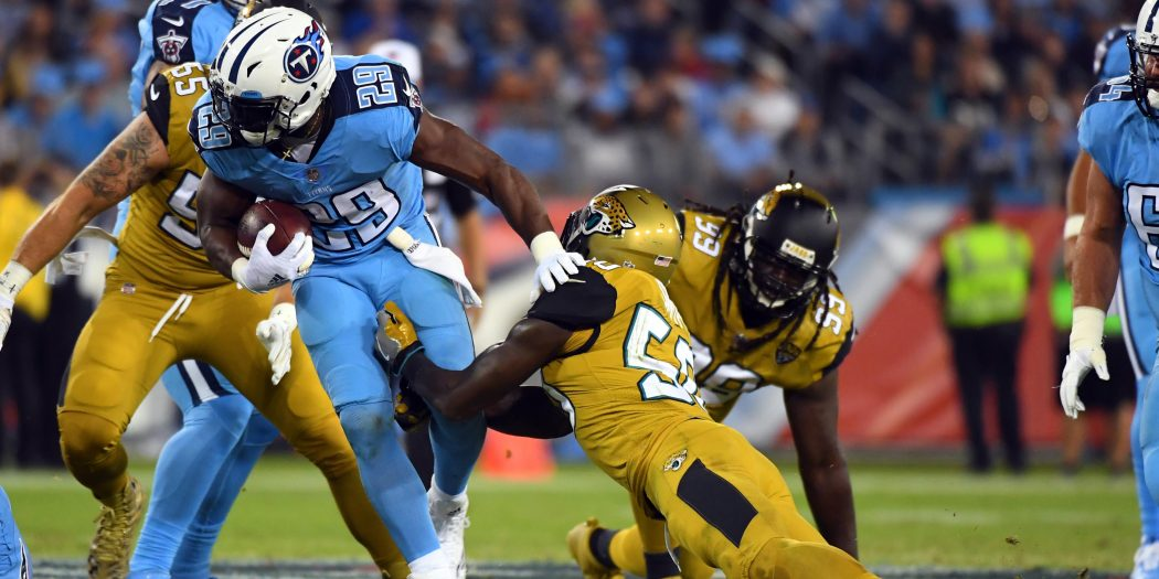 Oct 27, 2016; Nashville, TN, USA; Tennessee Titans running back DeMarco Murray (29) runs for a short gain in the first half against the Jacksonville Jaguars at Nissan Stadium. Mandatory Credit: Christopher Hanewinckel-USA TODAY Sports