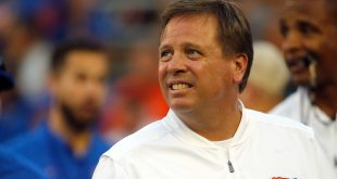 Sep 17, 2016; Gainesville, FL, USA; Florida Gators head coach Jim McElwain  prior to the game against the North Texas Mean Green at Ben Hill Griffin Stadium. Mandatory Credit: Kim Klement-USA TODAY Sports