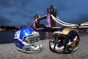 Oct 21, 2016; London, United Kingdom; General view of New York Giants and Los Angeles Rams helmets and the River Thames and Tower Bridge prior to game 16 of the NFL International Series. Mandatory Credit: Kirby Lee-USA TODAY Sports