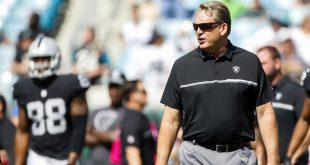 Oct 23, 2016; Jacksonville, FL, USA; Oakland Raiders head coach Jack Del Rio looks on during warm ups prior to a game against the Jacksonville Jaguars at EverBank Field. Mandatory Credit: Logan Bowles-USA TODAY Sports