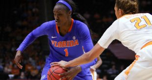 Jan 6, 2016; Knoxville, TN, USA; Florida Gators guard/forward Ronni Williams (1) moves the ball against Tennessee Lady Volunteers center Mercedes Russell (21) during the second quarter at Thompson-Boling Arena. Florida won 74 to 66. Mandatory Credit: Randy Sartin-USA TODAY Sports