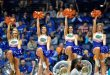 Mar 11, 2016; Nashville, TN, USA; Florida Gators cheerleaders cheer for their team against the Texas A&M Aggies during the second half of game six of the SEC tournament at Bridgestone Arena. Mandatory Credit: Jim Brown-USA TODAY Sports