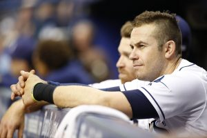 Aug 3, 2016; St. Petersburg, FL, USA; Tampa Bay Rays third baseman Evan Longoria (3) looks on against the Kansas City Royals at Tropicana Field. Mandatory Credit: Kim Klement-USA TODAY Sports