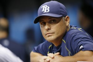 Aug 23, 2016; St. Petersburg, FL, USA; Tampa Bay Rays manager Kevin Cash (16) looks on against the Boston Red Sox at Tropicana Field. Mandatory Credit: Kim Klement-USA TODAY Sports