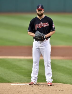Sep 6, 2016; Cleveland, OH, USA; Cleveland Indians starting pitcher Corey Kluber (28) stands on the mound in the first inning against the Houston Astros at Progressive Field. Mandatory Credit: David Richard-USA TODAY Sports