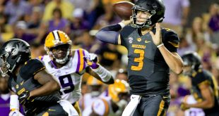 Oct 1, 2016; Baton Rouge, LA, USA;  Missouri Tigers quarterback Drew Lock (3) throws against the LSU Tigers during the second half of a game at Tiger Stadium.  LSU defeated Missouri 42-7.  Mandatory Credit: Derick E. Hingle-USA TODAY Sports