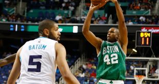 Oct 6, 2016; Greensboro, NC, USA; Boston Celtics center Al Horford (42) shoots the ball during the second half against the Charlotte Hornets at Greensboro Coliseum. The Celtics won 107-92. Mandatory Credit: Jeremy Brevard-USA TODAY Sports