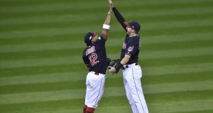 Cleveland Indians SS Francisco Lindor and RF Lonnie Chisenhall celebrate after defeating the Boston Red Sox 6-0 in game two of the 2016 ALDS  The Indians won 6-0.    --David Richard-USA TODAY Sports