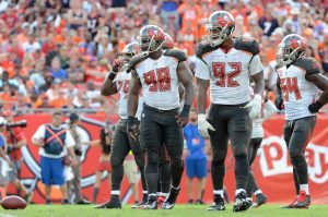 Oct 2, 2016; Tampa, FL, USA; Tampa Bay Buccaneers defensive line in the second half at Raymond James Stadium. Mandatory Credit: Jonathan Dyer-USA TODAY Sports