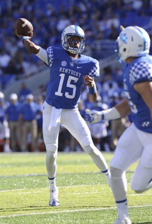 Oct 8, 2016; Lexington, KY, USA; Kentucky Wildcats quarterback Stephen Johnson (15) passes the ball against the Vanderbilt Commodores in the first quarter at Commonwealth Stadium. Mandatory Credit: Mark Zerof-USA TODAY Sports